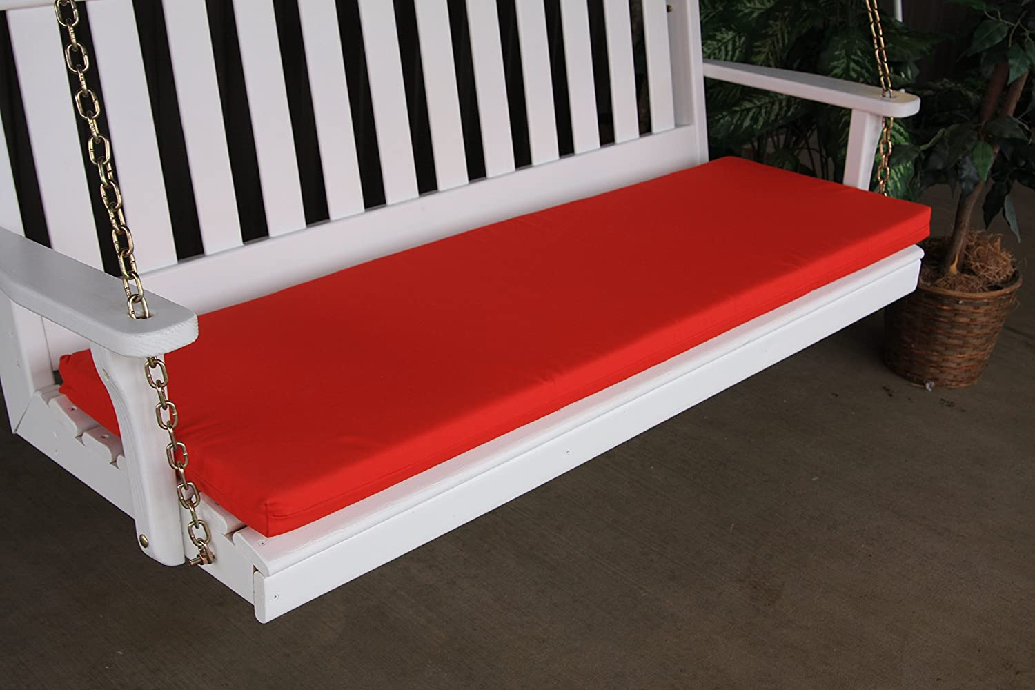 A L Furniture Sundown Agora 5 Cushion for Bench Or Porch Swing, 55 L 17 W 2 T, Red