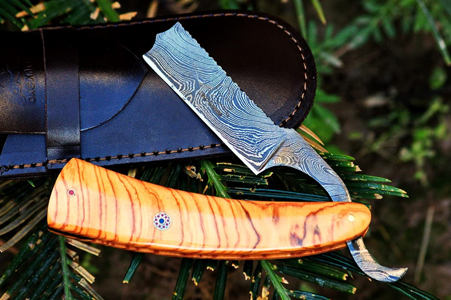 (7 9/18) DKC-537 Sale KNIGHT'S Barber Razor Damascus Steel 6 Long 3 Blade 2.5 oz Burl Olive Wood DKC Knives