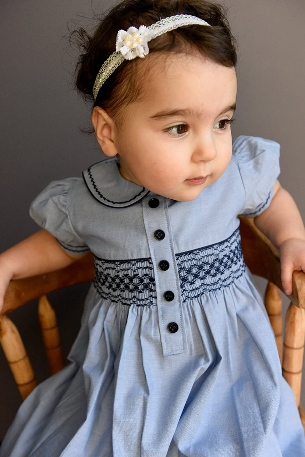 Kids 1950s Clothing & Costumes: Girls, Boys, Toddlers Carriage Boutique's Baby Girls Light Blue Short Sleeve Dress $45.00 AT vintagedancer.com