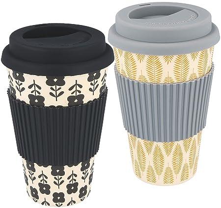 com-four® 2X Coffee to go Taza de bambú, Taza Biodegradable (Gris ...