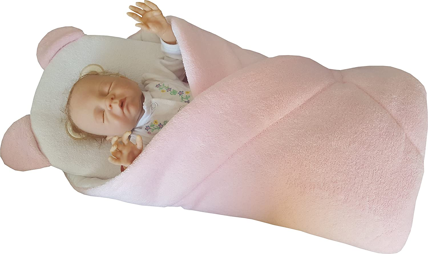 BlueberryShop Fleece Very Warm and Cute Swaddle Wrap/Blanket with Pillow, Pink Blueberry Shop for Babies 40004006