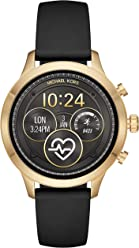 1a3451f7992c6 Michael Kors Women s Access Runway Plated Touchscreen Watch with Stainless  Steel Silicone Strap, Black,