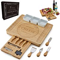 Vistella Charcuterie Large Cheese Board - Bamboo Platter with Knife and Forks Set with Ceramic Bowls - Thicker Wider and…