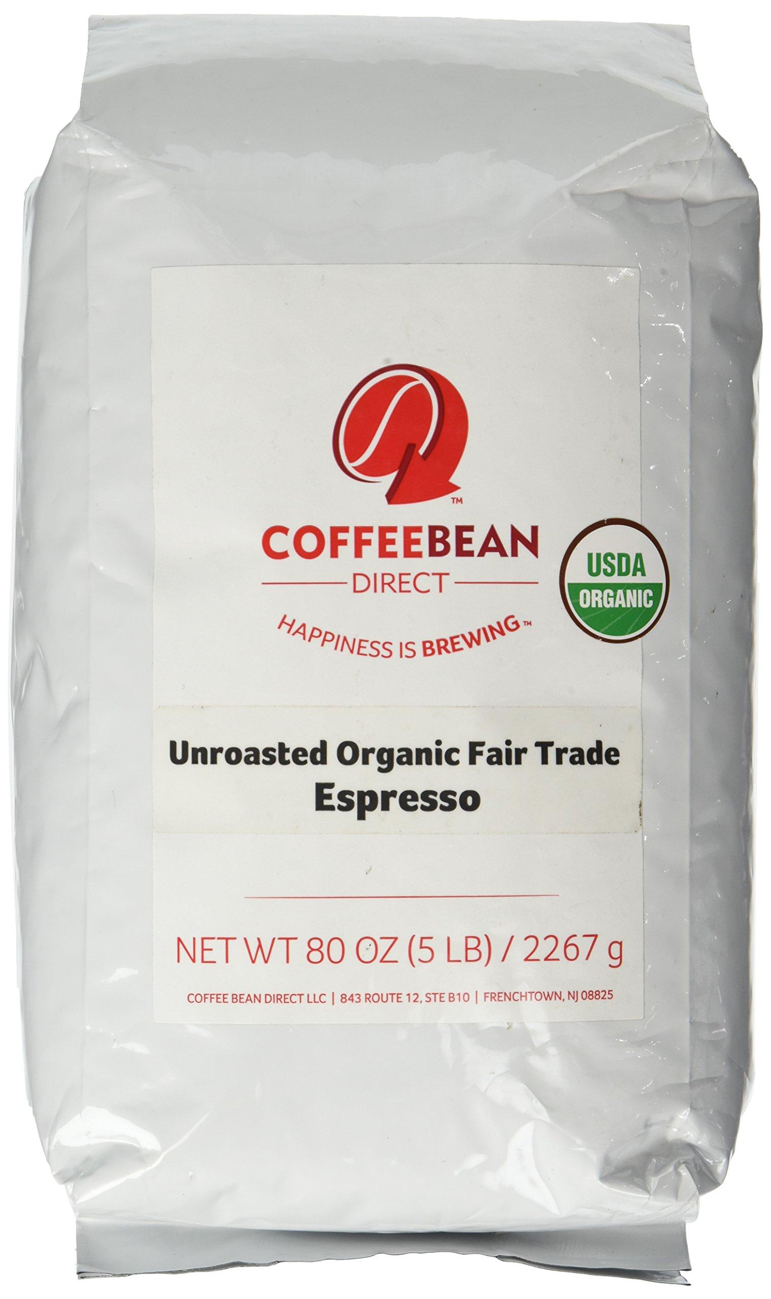 Green Unroasted Fair Trade Espresso Blend, Whole Bean Coffee, 5-Pound Bag