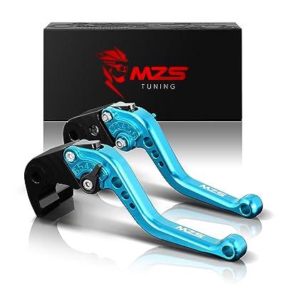 MZS Short Brake Clutch Levers Compatible with Suzuki GSXR600 2011-2020| GSXR750 2011-2020| GSXR1000 2009-2020| GSXS1000 GSXS1000F ABS 2015-2020 Blue: Automotive