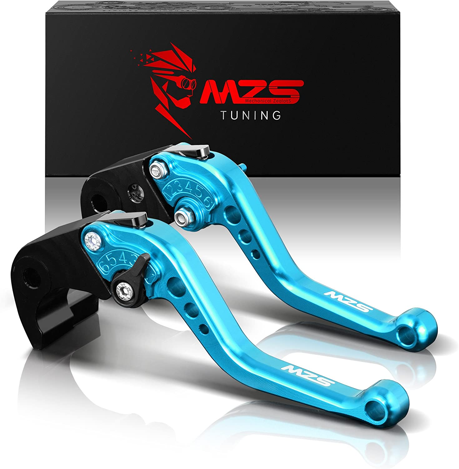 US-111 Short Motorcycle Brake and Clutch Levers for KAWASAKI ZX6RR ZX636R 2005-2006-Blue