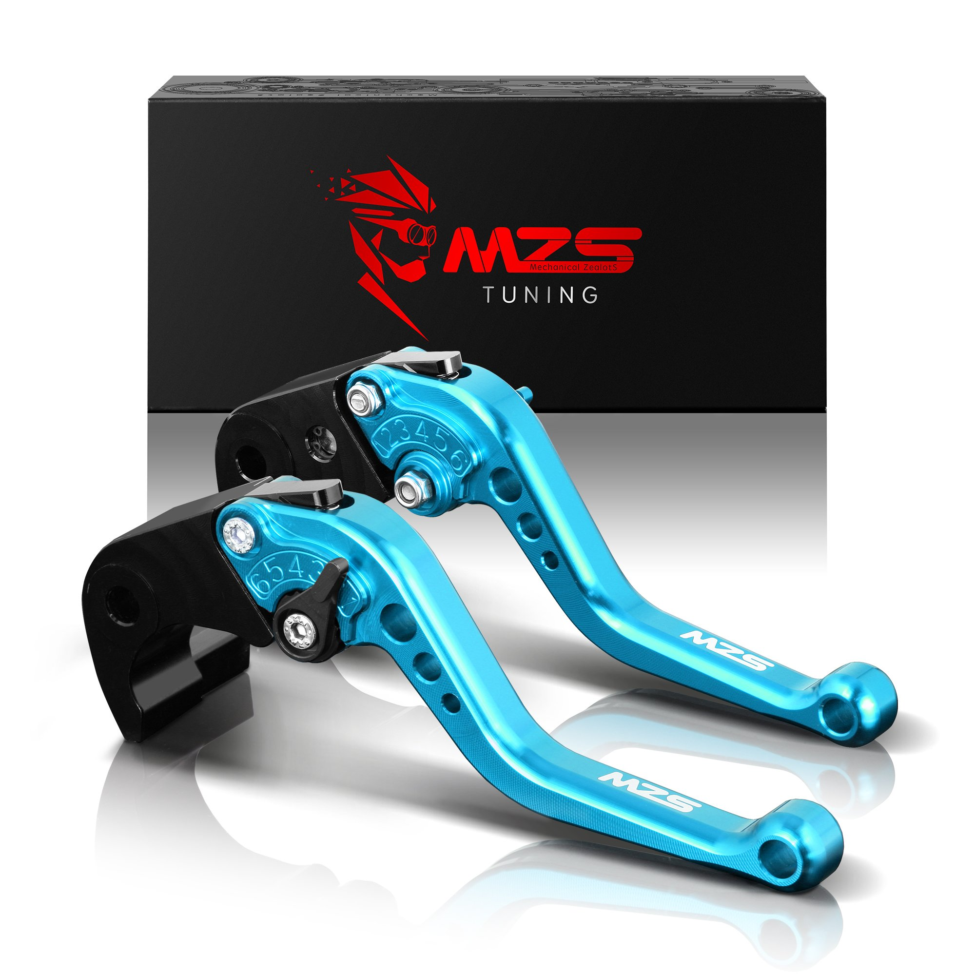 MZS Short Brake Clutch Levers for Yamaha YZF R3 2013-2018/ YZF R25 2013-2018/ MT-03 2015-2018/ MT-25 2015-2018 Blue by MZS