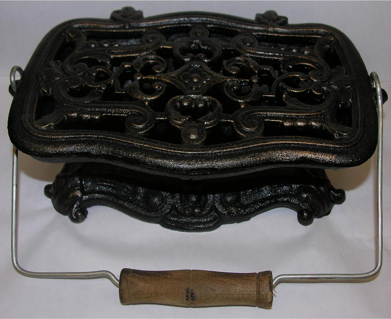 Hornillo Placa calentadora Hornillo Hierro Fundido envejecido marrón estilo de mango de madera rústico