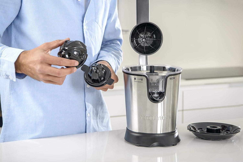 Taurus Easy Press 160W Exprimidor eléctrico de Palanca, 2 Conos para Todos los cítricos, Acero Inoxidable y Filtro con regulador de Pulpa Ajustable, 650 ml, ...