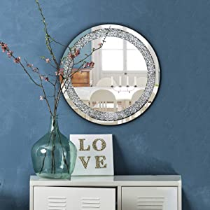 qmdecor Crystal Crush Diamond Round Silver Mirror for Wall Decoration 23.5x23.5x1 inch Wall Hang Frame Less Mirror Acrylic Diamond Décor