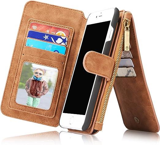Étui portefeuille vintage en cuir véritable pour iPhone 8 Plus et iPhone 7 Plus et iPhone 8 Plus w avec porte-cartes fermeture éclair magnétique [2 en ...