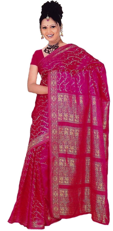 Trendofindia Indisches Sari Damenkostü m Bollywood Sari Kleid Pink CA106 4260179650062