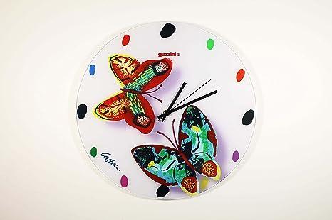 orologio da parete guzzini volare white fantasia farfalle moderno ...