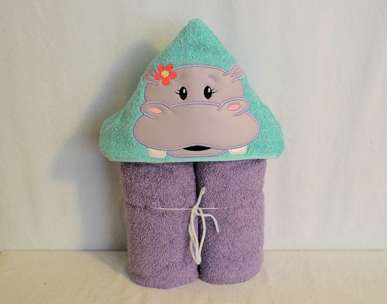 Tween Child Lavender Hippo Hooded Bath Towel Baby