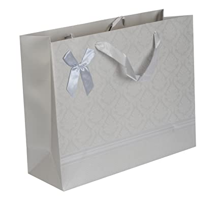 enwraps silver foil printed medium silver paper bags pack of 3