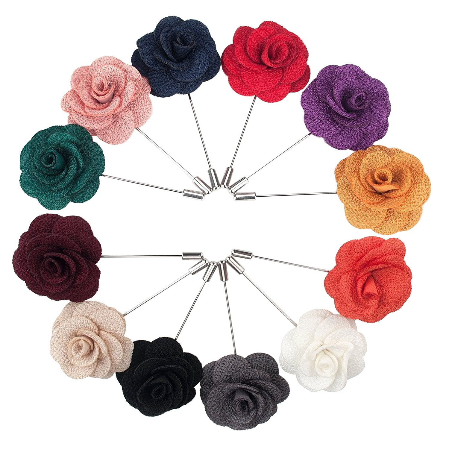 Geek-M Men's Lapel Pin Handmade Boutonniere Flower Brooch for Suit Wedding Party Pack of 12 PIN-2