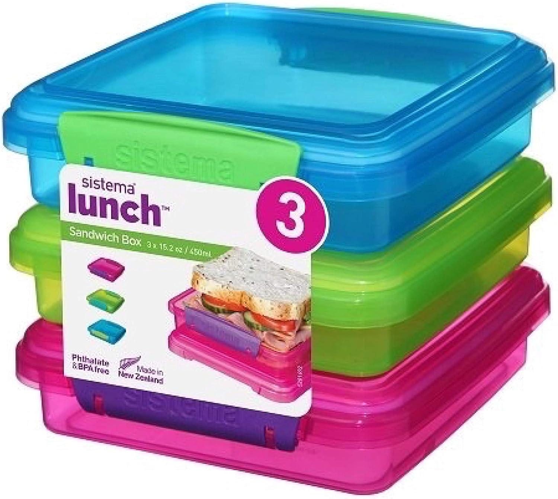 Sistema - Fiambreras para sándwiches (3 unidades), color turquesa, verde y fucsia: Amazon.es: Hogar