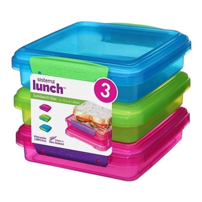 Sistema porta pranzo contenitore per alimenti, colori assortiti, plastica, Assorted Colours, Pack of 3 (200 ml) 1524