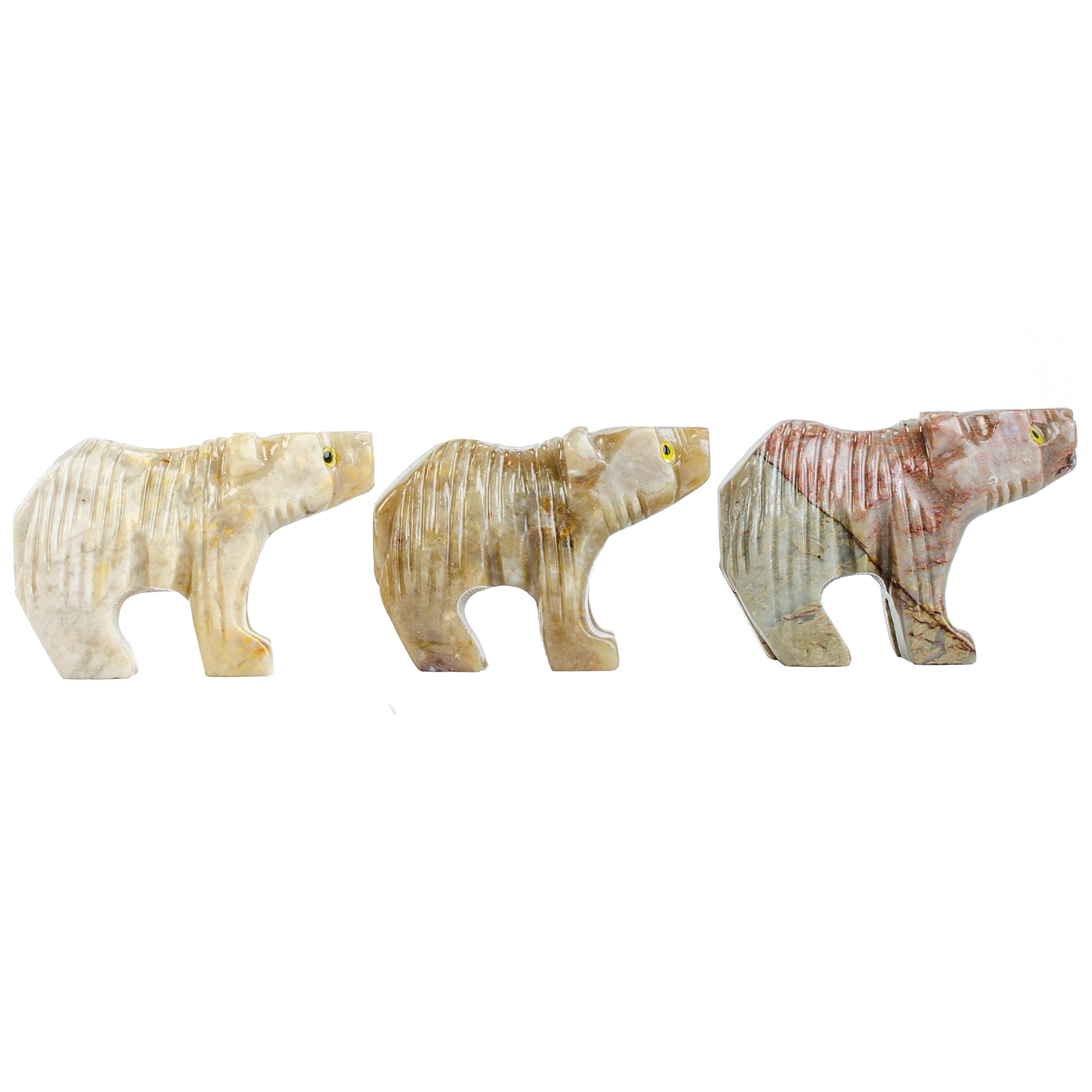 Fantasia Creations: 10 pcs Bear Soapstone Animal Figurine - Hand Carved by Fantasia's Master Artisans for Party Favors, Collecting, Wire Wrapping, Gifts and More!