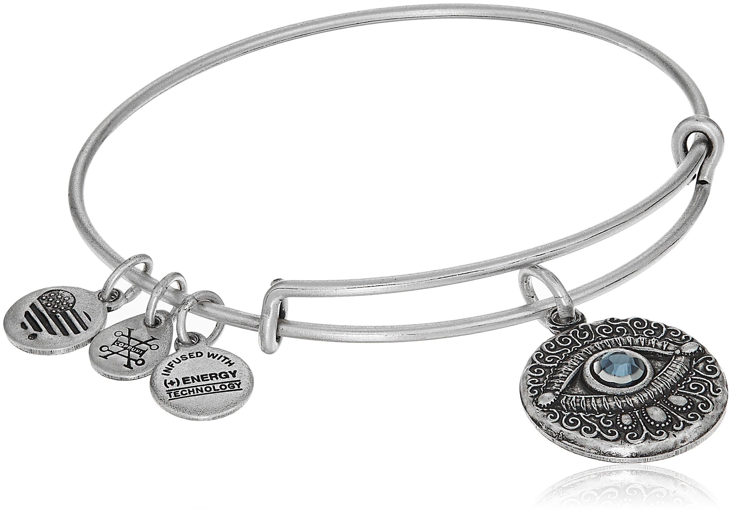 Alex and Ani Evil Eye Bangle Bracelet, Rafaelian Silver, Expandable