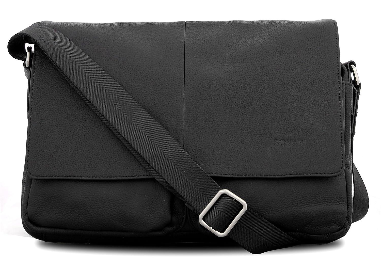 Bovari Echt Leder Messenger Bag Schultertasche Umhängetasche Tablet-Tasche Notebook-Tasche 13 Zoll - London - Herren Damen - Premium Edition - schwarz BOV447