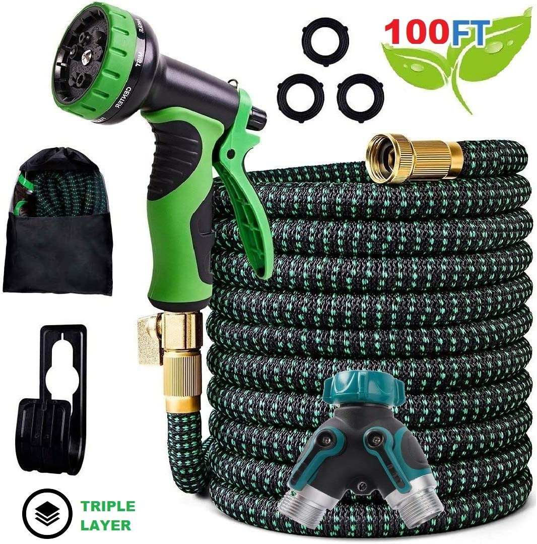 "Expandable Garden Hose – 50FT 100FT Upgraded Strength 3750D Expanding Lightweight Water Hoses – 3 Layers Latex Core – 9 Pattern Spray Nozzle – Extra Solid ¾"" Brass Connectors – 2 Way Splitter (100FT)"