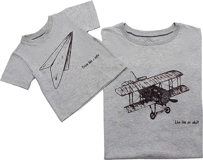 Mi Patricio Playera Gris con Estampado de avión para Padre e Hijo Papa e Hijo Padre y Bebe Papa y Bebe
