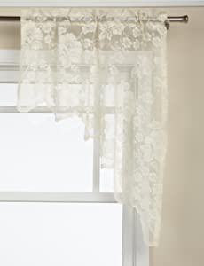 LORRAINE HOME FASHIONS Floral Vine 60-inch x 38-inch Swag Pair, Ivory