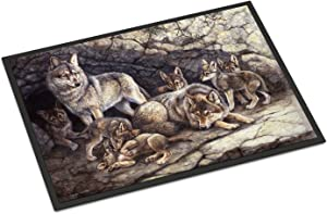 Caroline's Treasures BDBA0157MAT Wolf Wolves by The Den Indoor or Outdoor Mat 18x27, 18H X 27W, Multicolor