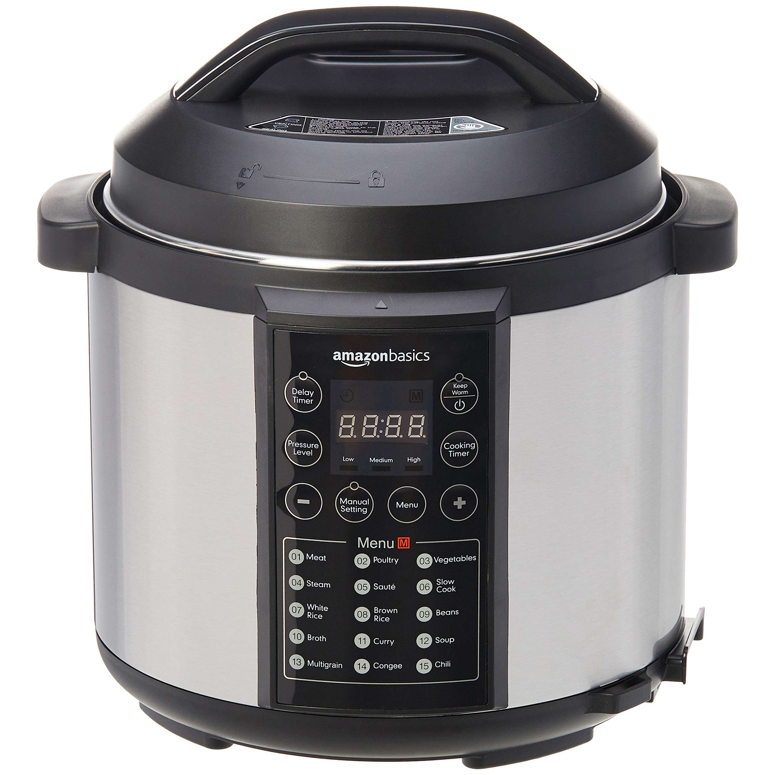 Amazon Basics 23 in 1 Multi-Purpose Electric Steamer, Pressure Cooker, 5.5 Litre, 1000 W, Brushed Stainless Steel, now with downloadable Free Recipe Book (UK plug)