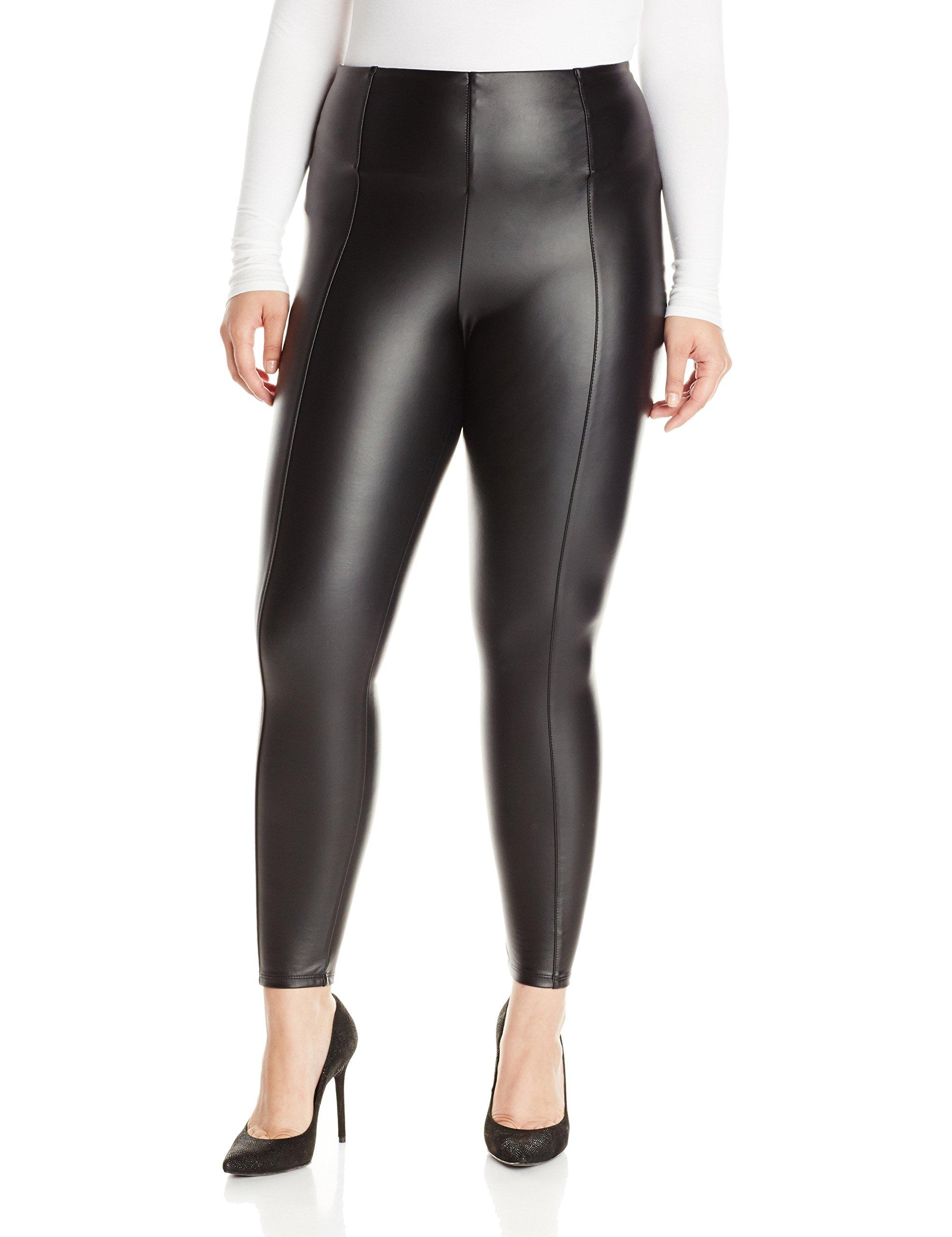 Lyssé Women's Plus Size Hi Waist Vegan Legging, Black 1X