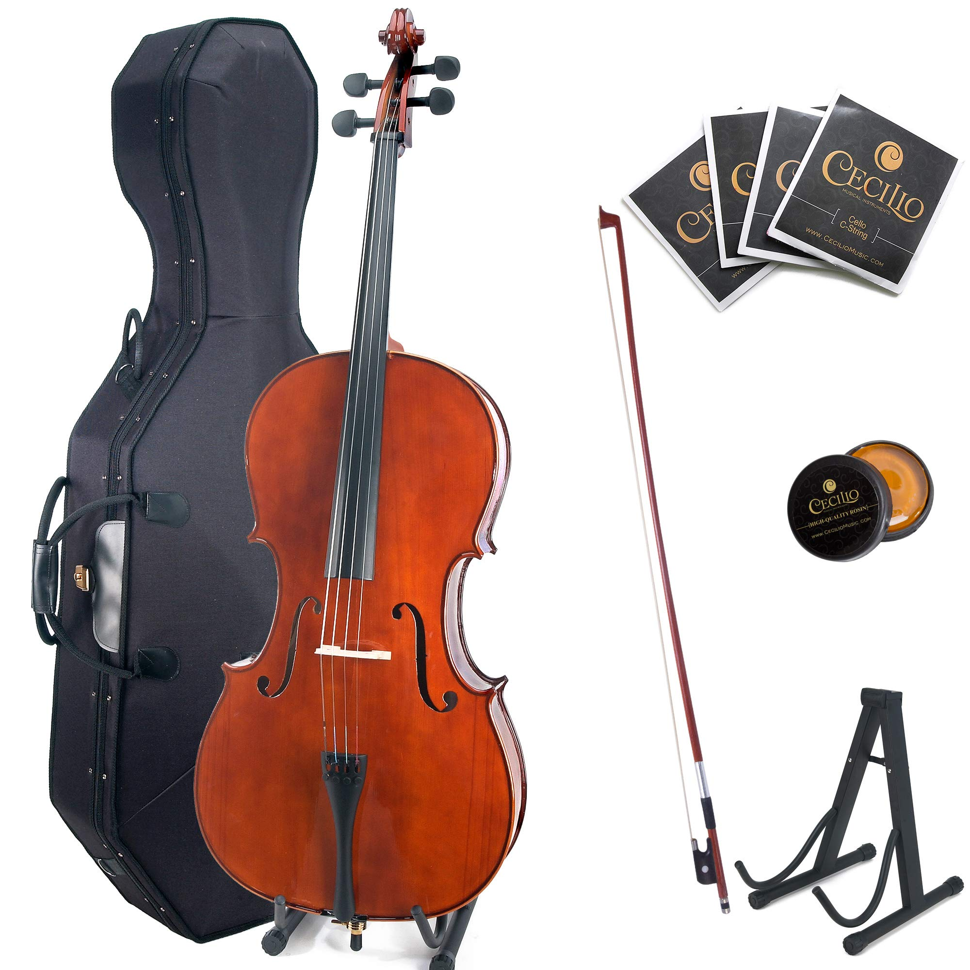 Cecilio CCO-200 Solid Wood Cello with Hard & Soft Case, Stand, Bow, Rosin, Bridge and Extra Set of Strings (Size 4/4 (Full Size), Varnish)