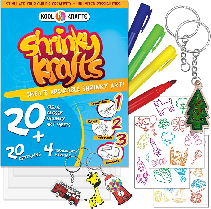 "Kool Krafts Shrinky Art Crafts Set - 20 Clear, Glossy Sheets (8"" x 10""), 20 Keychains, 36 traceable images, and 4 Permanent Markers - Fun Creative Shrink Charms for Kids - Easy at Home Shrinky A Dinks"