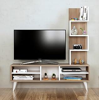 pers set soggiorno - bianco / noce - parete attrezzata - mobile tv ... - Mobili Tv Amazon