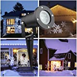 Christmas Projector Lights Outdoor&Indoor,Waterproof LED White Snowflake Holiday Lights For Christmas, Party - Halloween Decoration (Snowflake)