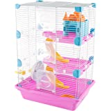 PETMAKER Hamster Cage Habitat, 3 Story Critter/Gerbil/Small Animal Starter Kit with Attachments/Accessories- Water Bottle, Tunnel Ladders, Wheel by