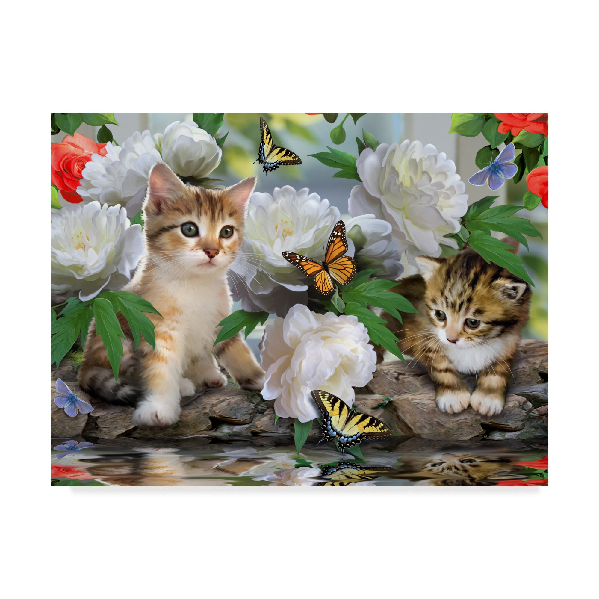 Trademark Fine Art Kittens And Flowers by Howard Robinson, 35x47-Inch