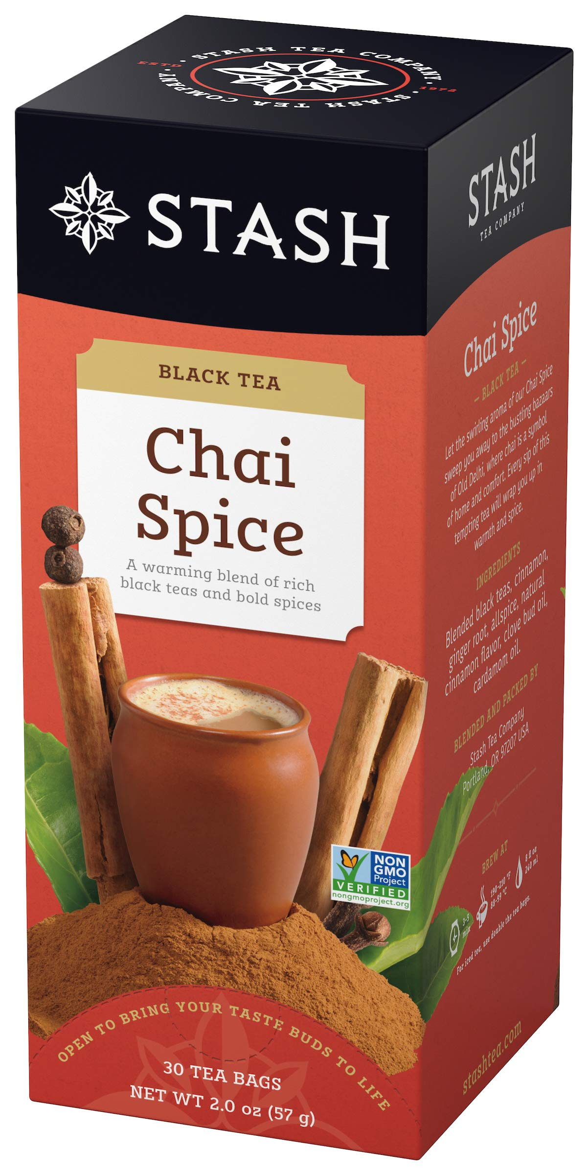 Stash Tea Chai Spice Black Tea 30 Count Tea Bags in Foil (Pack of 6), Tea Bags Individually Wrapped in Foil, Premium Black Tea Blended with Invigorating, Warming Spices, Drink Hot or Iced