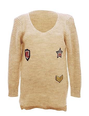 Damen Winter Pullover aus Grobstrick Longpullover Strickpullover mit Patches   Amazon.de  Bekleidung 7bb993fb0a