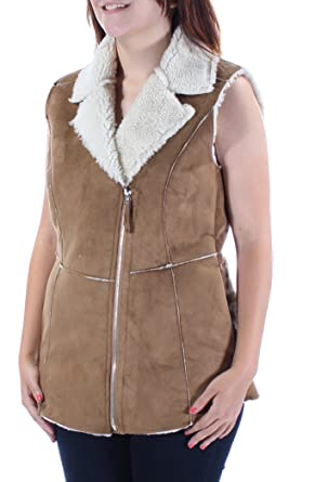 9d39a9ffa4 Amazon.com: WILDFLOWER $119 Womens New 1308 Brown Faux Fur Zip Up ...
