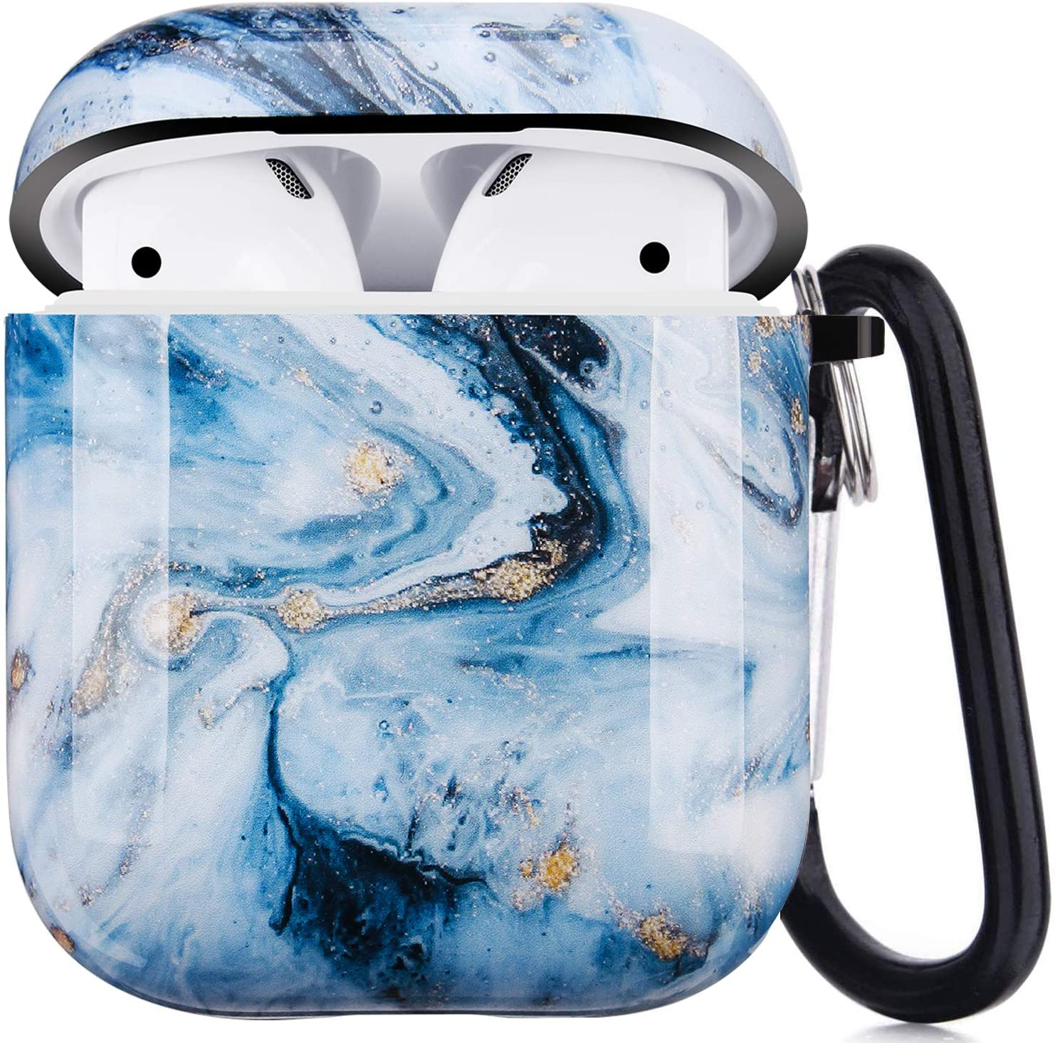 Airpods Case, Airpods Protective Hard Case Cover with Keychain Compatible with AirPods 2/1 Cute Girls Men Durable Shockproof Anti Lost Case for AirPods Charging Case (Ice Blue Marble)