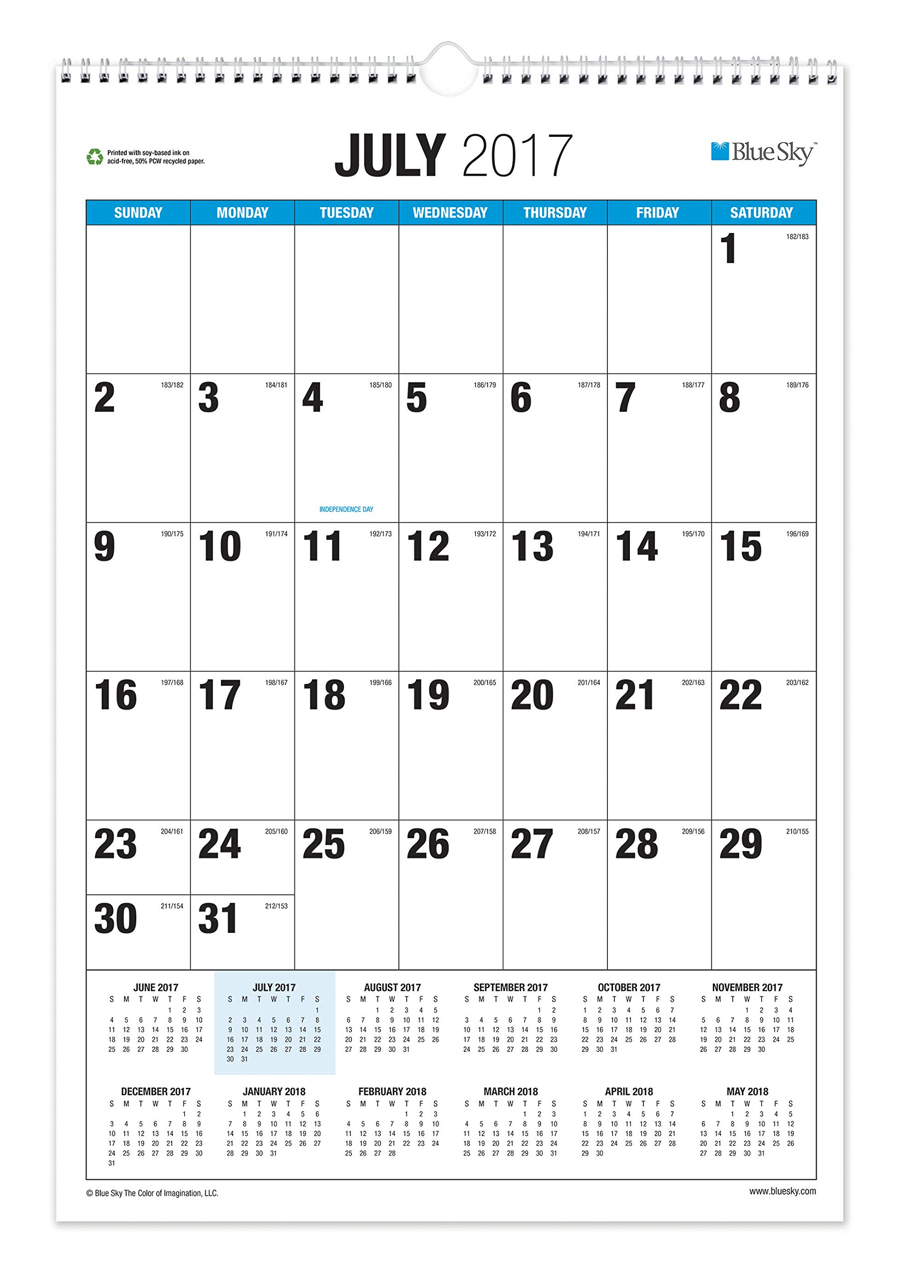 Blue Sky 2017-2018 Academic Year Wall Calendar, Twin-Wire Bound, 15.5'' x 22.75'', Classic