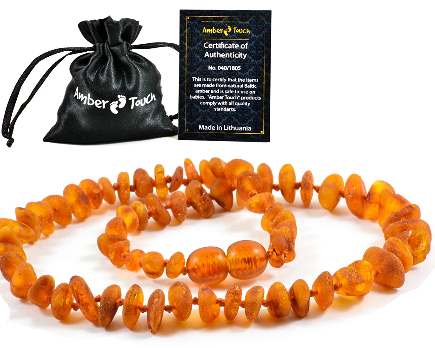 Unisex RAW Baltic Amber Teething Necklace For Babies Drooling /& Teething Pain Reduce Properties UNPOLISHED Natural Amber-Touch - Anti Flammatory
