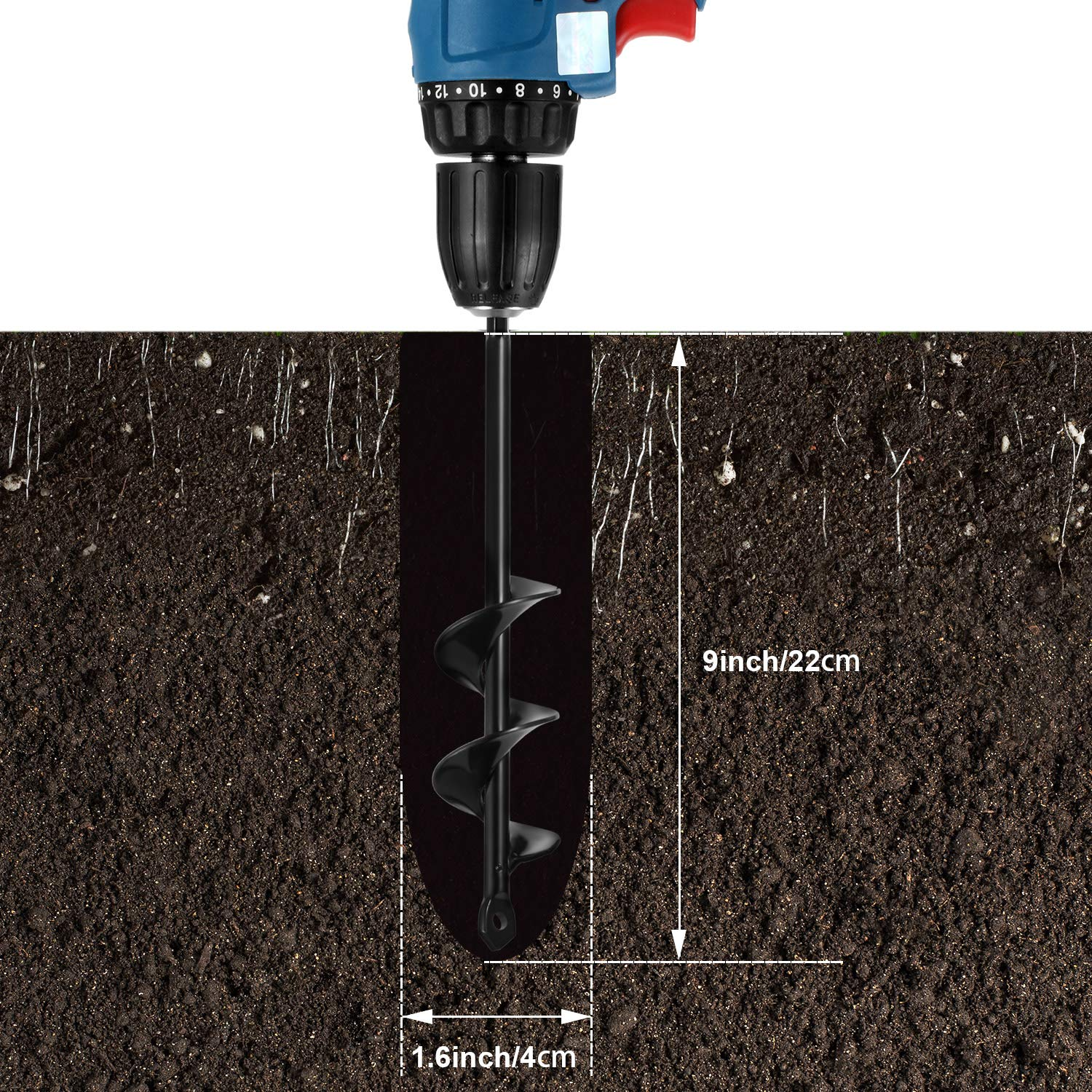 Auger Drill Bit for Planting Spiral Hole Drill Planter 1.6 x 9 Inch Hex Shaft Auger Post or Umbrella Hole Digger Auger Garden Spiral Drill Bits for Earth Garden Plant Flower Bulb
