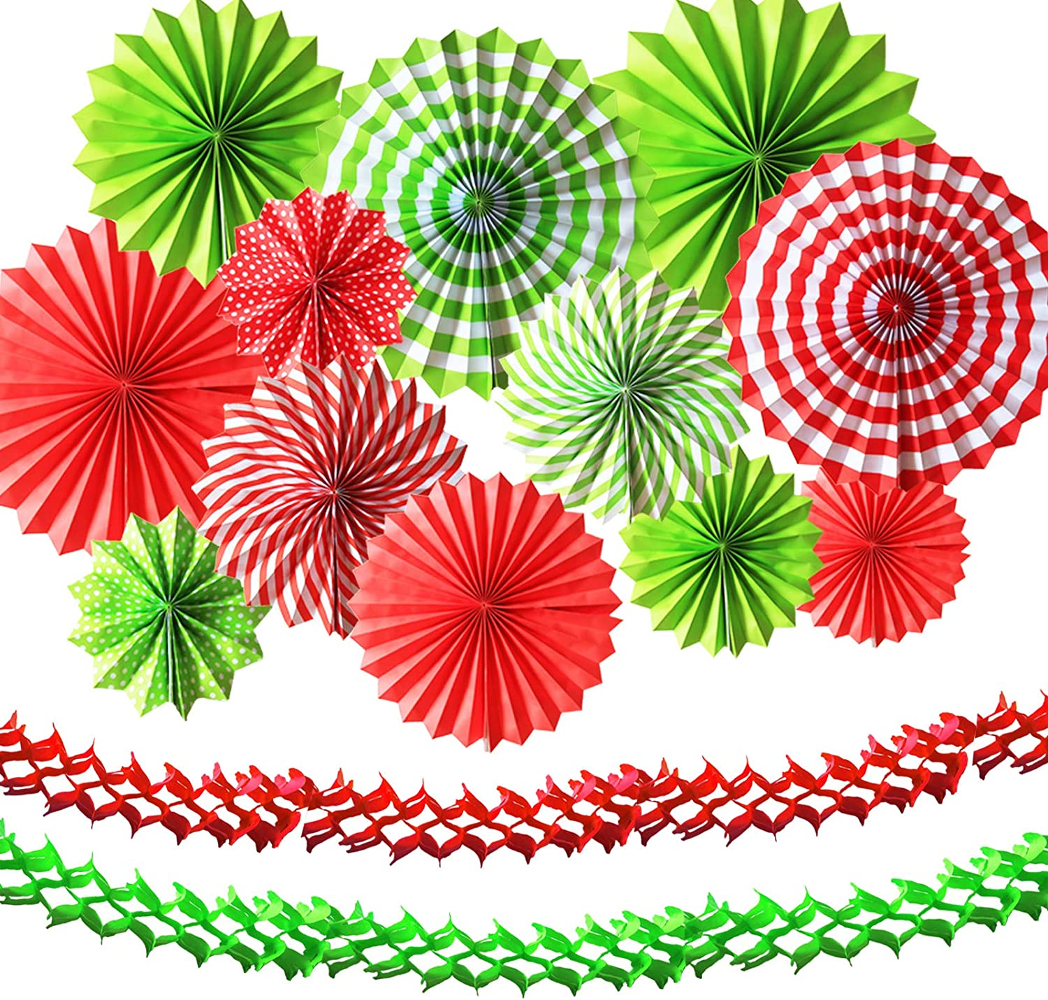 24PCS Christmas Party Decorations Red and Green - 12Pcs Paper Fan and Party Streamers Hanging Decorations for Xmas Holiday Party Decor, Christmas Ugly Sweater Party Decor