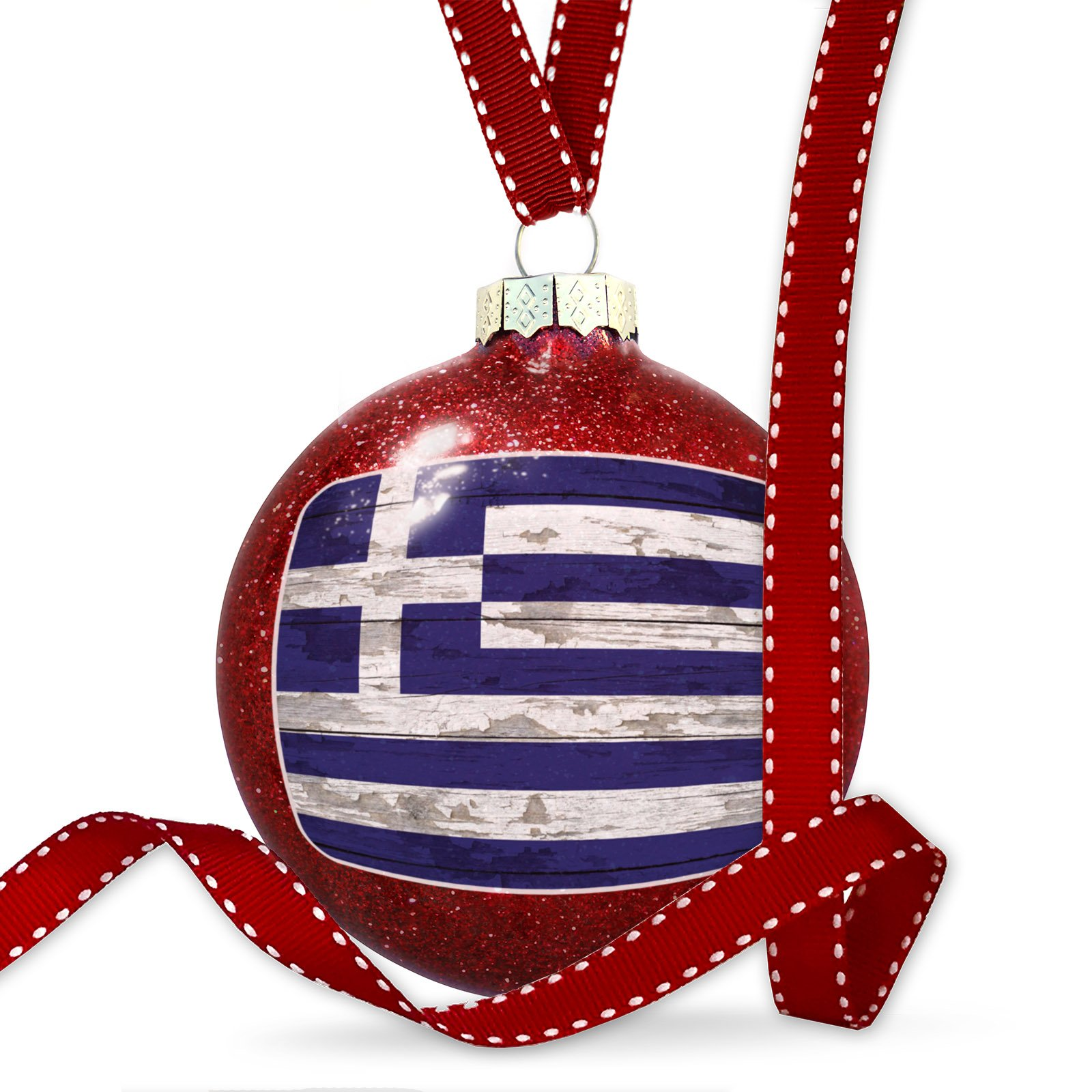Christmas Decoration Flag on Wood Greece Ornament by NEONBLOND (Image #1)