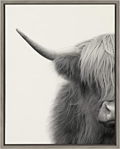 Kate and Laurel Sylvie Hey Dude Highland Cow Crop Framed Linen Textured Canvas Wall Art by The Creative Bunch Studio, 18x24 Gray, Chic Animal Art for Wall