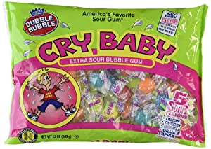Dubble Bubble Cry Baby Assorted Flavor Extra Sour Bubble Gum, Pack of 2, 12 oz Bags