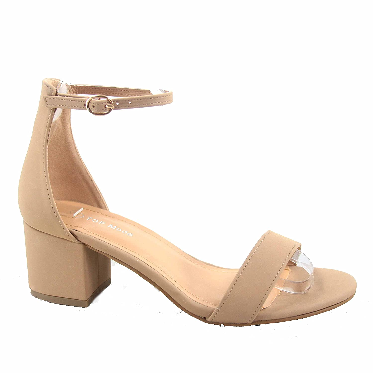 9049314a9fc Top Moda Darcie-1 Women's Fashion Ankle Strap Chunky Low Heel Dress Sandal  Shoes Taupe