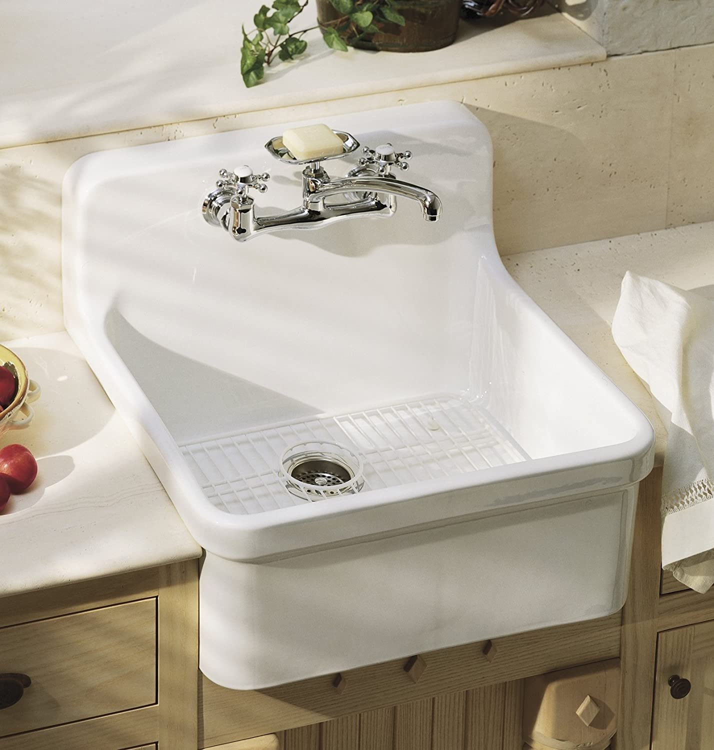 KOHLER K 149 3 CP Antique Wall Mount Kitchen Sink Faucet, Polished Chrome    Touch On Kitchen Sink Faucets   Amazon.com